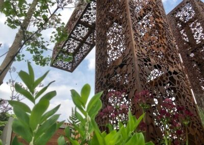 Gardengigs-URBAN-FLOW-Chelsea-Flower-Show-View-of-the-Metal-Tower-From-Below