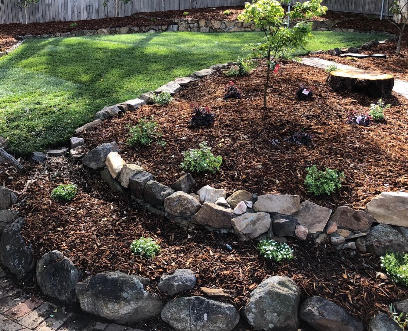 Gardengigs Garden Landscape Design Latest Work - Layered Garden Design Mulched